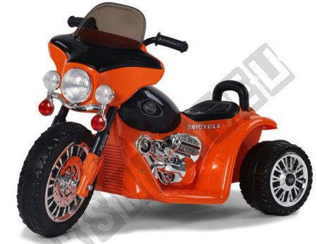 Super motor tricycle on battery orange