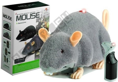 Big RC Mouse Toy on Wheels Grey- Make a Prank