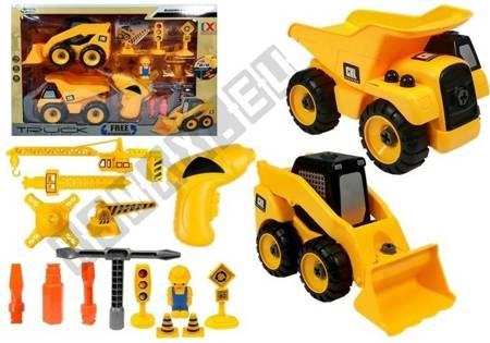 Construction Site Set Excavator Truck Crane