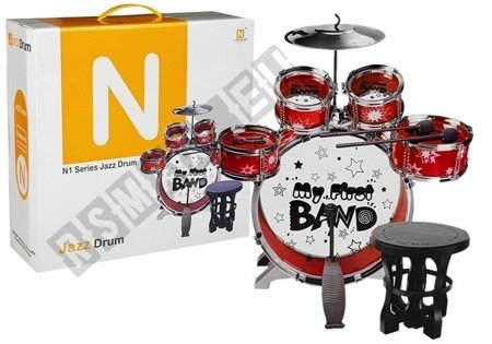 Drums Set with Keyboard Microphone and Chair Red