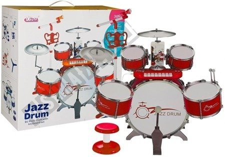 Drums Set with Keyboard Microphone and Chair Red 5 drums