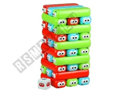 Game Jenga Tower With Worms Colorful Bricks