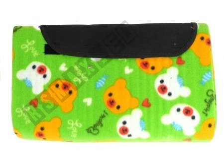 Picnic Blanket 150x180 Cute Animals Pattern Green