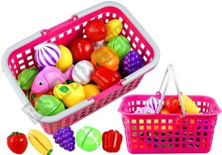 Shopping Basket - Pink with White Handle