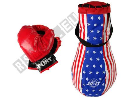Boxset 3-tlg Boxsack Boxhandschuhe Boxtraining USA-Look Kinder Boxhandschuhen