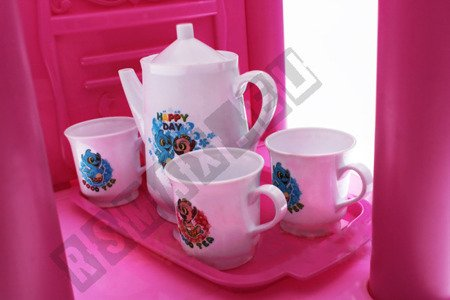 Groβe Küche mit Ton, Wasserhahn mit Wasser, Accessoires Kinderküche Spielküche