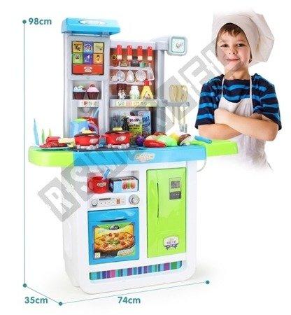 Große Küche mit Touch Panel Wasserhahn mit Wasser, Kinderküche Spielküche grün