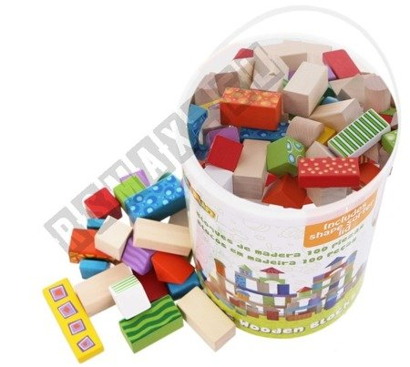 Holzklötze Bauklötze Holzspielzeug SET von 100 Holzbausteinen ideal für Kinder.