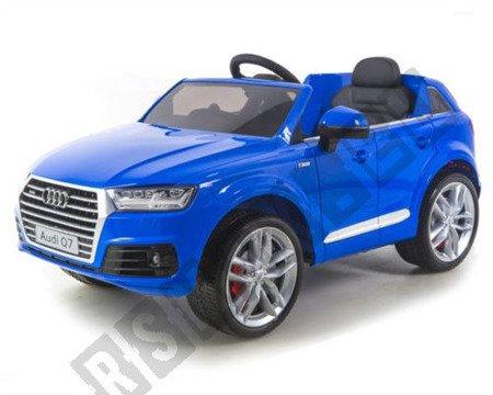 Kinderauto AUDI Q7 SUV Elektroauto Kinderfahrzeug 12V Ledersitz Radio ! Neu 2018 blau lackiert