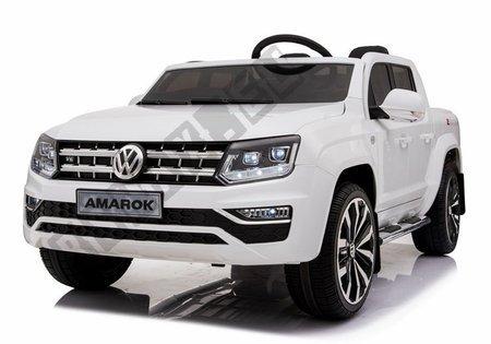 Kinderfahrzeug VW Amarok Weiß 4x45W Ledersitz 2.4G EVA-Reifen LCD Panel