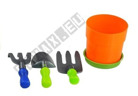 Kinderrasenmäher + Set Blumentopf Harke Handschaufel Spielzeug für Kinder 3+