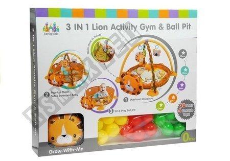 Krabbeldecke 30 Bälle 4 bunte Anhänger Löwe Set Spielzeug für Babys