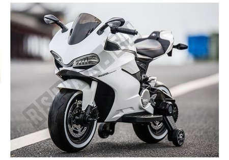 Motorrad SX1628 Weiß Ledersitz USB-Eingang Motorrad für Kinder