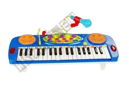 Organy Keyboard z Mikrofonem Na Nóżkach Niebieski