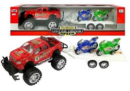 Zestaw Pojazdów Monster Truck z Lawetą Czerwony
